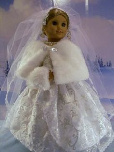 Winter Bride Gown Cape Muff fits American Girl Dolls, Elizabeth 18 in.