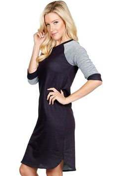 Color Block Navy French Terry Dress - My Sisters Closet