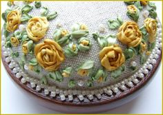 Silk Ribbon Embroidery Roses and Pearls Yellow by lornabateman22