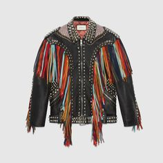 Gucci Embroidered Leather Jacket With Fringe Colorful Leather Jacket, Coloured Leather Jacket, Studded Leather Jacket, Leather Fringe, Quilted Leather, Real Leather, Embroidered Leather Jacket, Quilted Jacket, Vest Outfits