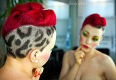 retro bright red hair, lepoard print shaved into side This would totally make me look like a pin-head. However, there is something about it i like. Mohawk Hairstyles For Women, Pretty Hairstyles, Shaved Hairstyles, Latest Hairstyles, Wedding Hairstyles, Pelo Mohawk, Shaved Hair Designs, Bright Red Hair, Crazy Hair