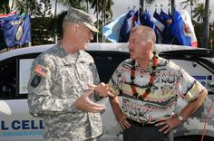 Maj. Gen. Roger F. Mathews, deputy commander, U.S. Army Pacific explains hydrogen fuel cell vehicle technology to Peter Carlisle, Mayor of the City and County of Honolulu Feb. 22, 2012, during a commissioning ceremony at Fort Shafter, Hawaii. Photo credit U.S. Army Hawaii. Read more here: http://www.army.mil/article/7430/Army_unveils_world_s_first_military_fleet_of_fuel_cell_vehicles/