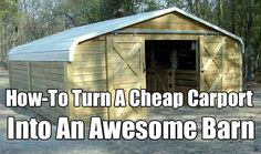 How-To Turn A Cheap Carport Into An Awesome Barn. Carports are sturdy inexpensive and built to last for years they are perfect for budget conversions. Horse Stalls, Horse Barns, Horse Horse, Barn Plans, Shed Plans, Car Tent, Horse Shelter, Barns Sheds, Horses