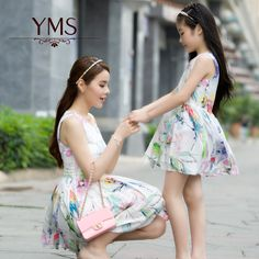Mom And Daughter Dress Clothes Spring Summer New Europe And The United States Girls Dress Printing Mother Daughter Outfit Female(China (Mainland))
