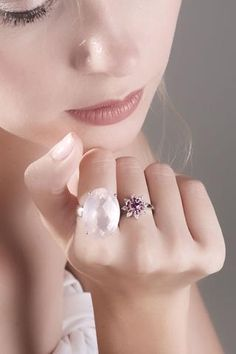 Australian pink sapphire with pink rubies and diamonds 14k white gold flower ring a Size 6 - Ready to ship or Resize CLICK HERE - Sarah Hughes - 1