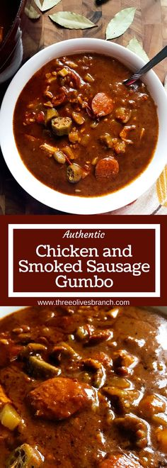 Straight from NOLA, this Authentic Chicken and Smoked Sausage Gumbo is a cold weather staple in our house. Smoky flavors will make this a favorite when you are craving soup or stew. Whether you make it spicy or mild, it is great for game day!   Three Olives Branch   www.threeolivesbranch.com