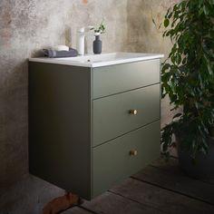 Gustavsberg graphic baderomsmøbel m/servant, 60 grønn - MegaFlis.no Bathroom Interior, Filing Cabinet, Pop Up, Storage, Furniture, Home Decor, Modern Bathrooms, Products, Modern