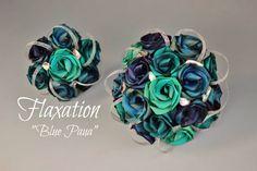 Blue paua bouquets by Flaxation.   www.flaxation.co.nz Wedding Ceremony Decorations, Wedding Ideas, Wedding Stuff, Scottish Wedding Themes, Purple Wedding, Wedding Flowers, Flax Flowers, Bridal, Bouquets