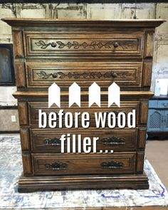 The Best Wood Filler I've Ever Used For Painted Furniture Not everyone loves the dated carved details on wood furniture and I'm always looking for the best wood filler to cover them before I paint. Furniture Repair, Old Furniture, Refurbished Furniture, Colorful Furniture, Paint Furniture, Repurposed Furniture, Cheap Furniture, Furniture Projects, Furniture Makeover