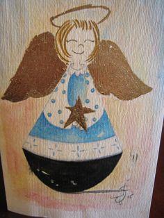 Diversidad religiosa. Angel de la Guarda. Tinta, acuarela y pan de oro.