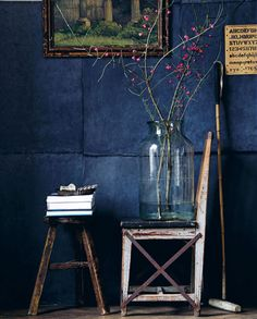 Styling on a dark background  Still life with blue background