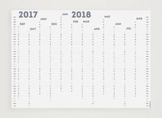 WHITE OUT Smokey Blue 2017-2018 Academic Year Wall Planner