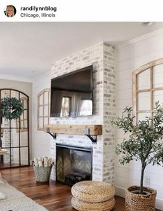 Wooden Mantel, Rustic Mantel, Rustic Fireplaces, Home Fireplace, Fireplace Design, Brick Fireplace Remodel, Fireplace Ideas, Brick Fireplace Decor, Stacked Stone Fireplaces