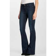 Paige Denim 'Transcend - Bell Canyon' High Rise Flare Jeans ($199) ❤ liked on Polyvore featuring jeans, clark, high waisted flare jeans, stretchy jeans, flared jeans, flare jeans and stretch jeans