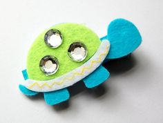 Blue and Green Felt Turtle Hair Clip STYLE 3Girl by HappyHairDay, $3.50