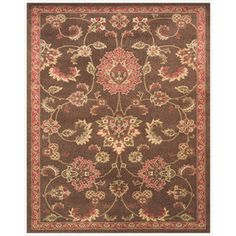 Valencia Rectangular Brown with Cream Border Area Rug (Common: 5-ft x 8-ft; Actual: 5-ft 3-in x 7-ft 9-in)