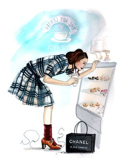 By Tracy Hetzel. Girl checking pastries illustration.