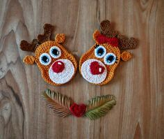 ($) Crochet girl reindeer applique, pattern for purchase; pattern for boy sold seperately