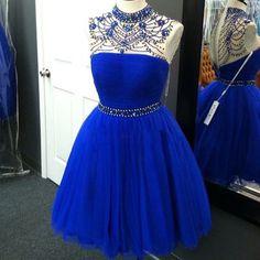 A-line homecoming dresses high neck knee length tulle short top beaded princess graduation cocktail dresses