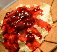 Cherry Cheesecake Dip - Mix Jello No-Bake Cheesecake mix with one container of Cool Whip. Chill. Top with a can of cherry pie filling. Serve with graham crackers. This would be so handy for a party dish!