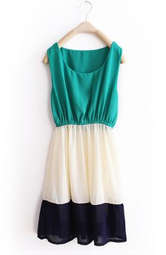 Green Stripe Patchwork Chiffon Tank dress