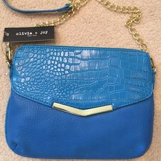 Olivia + Joy cross body Gold chain and turquoise leather. New with tags. Olivia + Joy Bags Crossbody Bags