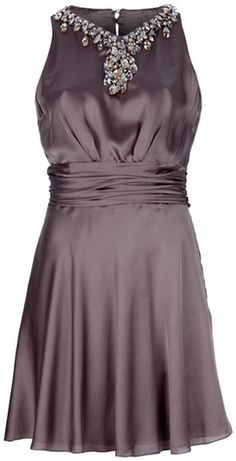Azzaro Jeweld Neck Dress in Brown | Lyst