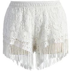 Chicwish Fringed Lace Crochet Shorts in White ($30) ❤ liked on Polyvore featuring shorts, bottoms, pants, short, white, lace short shorts, crochet lace shorts, white fringe shorts, crochet shorts and short shorts