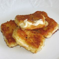 Bulgarian Fried cheese...Kashkaval Pane is an appetizer typically made with sheep's milk kashkaval cheese, but Italian provolone or fontina, or haloumi from Cyprus can be used