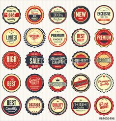 Vector: Premium, quality retro vintage labels collection