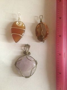 Three pendants wire wrapped. Carnelian, Framed Agate, and Amethyst. #MadeWithLove