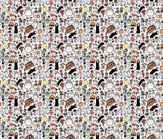 Kawaii Ghibli Doodle fabric by kirakiradoodles on Spoonflower - custom fabric