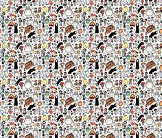 Kawaii Ghibli Doodle fabric by kirakiradoodles on Spoonflower - custom fabric