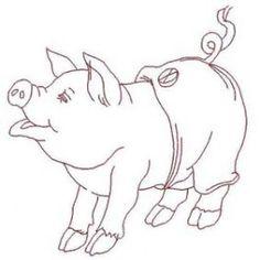 Redwork Love a Piggy