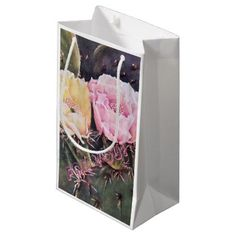 #pink - #PINK AND YELLOW PEAR CACTUS SMALL GIFT BAG