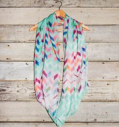 Sheer Multi Color Chevron Print Infinity Scarf – Deep South Pout