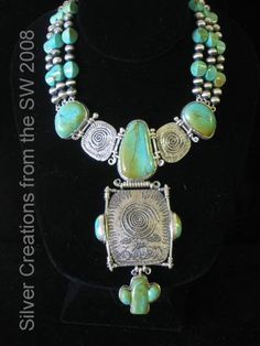 """""""Petroglyph"""" Collection Cactus Pendant Collier  Turquoise and Hand Stamped Sterling Silver Collier with Cactus Pendant"""