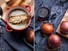 The Great Soups - French Onion Soup - Mamatsita 3 Onion Soup, French Onion, Moscow Mule Mugs, Good Food, Food And Drink, Cooking, Tableware, Interesting Recipes, Foods