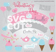 SVG files to die-cut Valentines Day scrapbook and crafts paper shapes. Use in the Silhouette Cameo, Silhouette Curio, Cricut and other