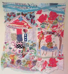 TINY COTTAGE COLLAGE Quilt Art --Vintage Antique Primitive Patchwork --Recycled Fabric Linens --House Garden Crazy Quilt --Naive Folk Artist  my bonny cannon beach