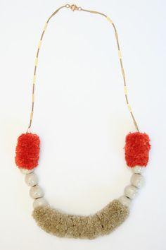 Pom & Bead Necklace. Handmade using fairtrade/organic/vintage/recycled, eco-friendly dyes, handmade in small batches.