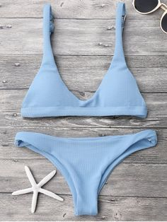 $13.99 Low Waisted Padded Scoop Bikini Set - LIGHT BLUE M