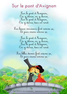 "cute printable lyrics for ""Sur le pont d'Avignon"" -- I like to introduce animals into the subsequent verses -- ""les éléphants font comme ça,"" with the dancers pretending their arms are trunks"