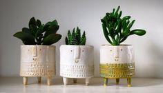 Little Tripod Fox Planter Fox Face Plant Pot Handmade Ceramic