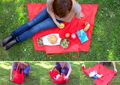 the Yield Picnic Bag unfolds from bag to blanket in one zip.  $56