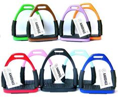 FLEXI SAFETY STIRRUPS HORSE RIDING BENDY IRONS STAINLESS STEEL 10 COLORS AMIDALE | Sporting Goods, Equestrian, Saddles & Tack | eBay!