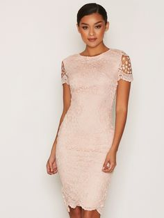 Short Sleeve Midi Lace Dress - Ax Paris - Pink - Juhlamekot - Vaatteet - Nainen - Nelly.com