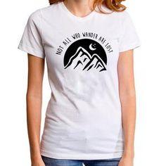 Not All Who Wander Are Lost T Shirt Harajuku Graphic t-shirt Women Moon Stars Travel tshirt Casual Tops Tee Shirt Femme Cool T Shirts, Tee Shirts, Best Travel Gifts, Harajuku, Travel Shirts, Casual Tops, Backpacker, Shirt Designs, Graphic Tees