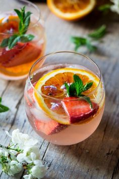 Sparkling Rose Cocktail. A delicious rose cocktail made with sparkling rose wine, Cointreau liqueur, chopped strawberries and orange. So delicious and easy.