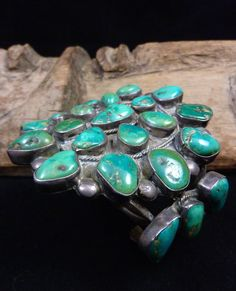 HUGE PRIMITIVE 110g Vintage Navajo Sterling Silver Cluster Cuff Bracelet w Hand-Cut Fox Mine Turquoise! Wonderful Old Piece!